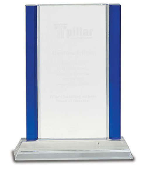 "Crystal Blue Edge Rectangle on a Crystal Base with Sandblasted Engraving 8.5"" Tall"