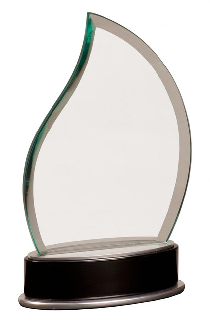 "Clear Glass Frame with Black and Silver Base 8.75"" Tall"