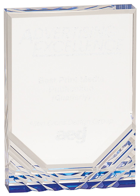 "Blue Jewel Mirage Acrylic Award 7"" Tall"