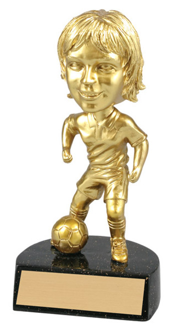 "Soccer Female Bobble Head Bright Gold Resin 6"" Tall"