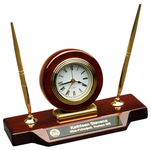 Rosewood Piano Finish Clock on a Base with Two Pens