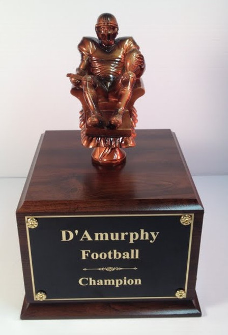 "Fantasy Football: PDU  Quarterback in Lounge Chair Football Figure on Cherry Wood Finish Base 11"" Tall"
