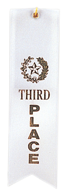 3rd Place White Carded Ribbon with String 2 X 8