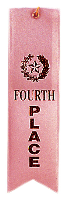 4th Place Pink Carded Ribbon with String 2 X 8