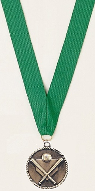 Medal with Green Ribbon with No Engraving
