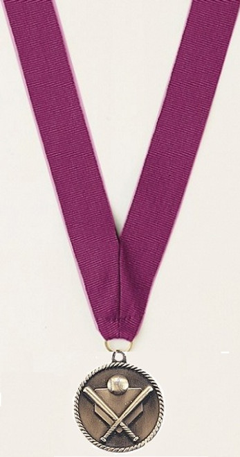 Medal with Purple Ribbon with Engraving