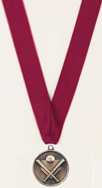 Medal with Maroon Ribbon with No Engraving