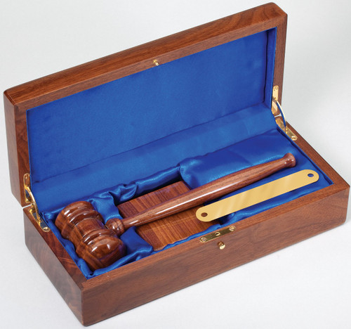 "10"" Deluxe Gavel Set in Walnut Piano Finish"