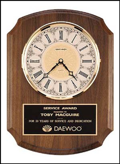 Solid Brass Diamond-Spun Bezel Clock with Glass Lens on Walnut Wall Plaque