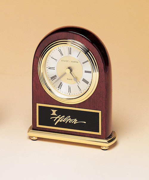 Rosewood Piano-Finish Brass Base Clock with Diamond-Spun Dial