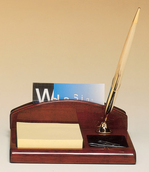 Rosewood Piano-Finish Desk Organizer with Business Card Holder, Pen & Notepad