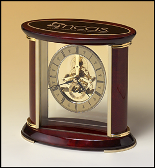 Skeleton Clock with Sub-Second Dial in Rosewood Piano-Finish