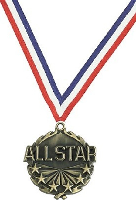 All Star Medal with Red, White & Blue Ribbon