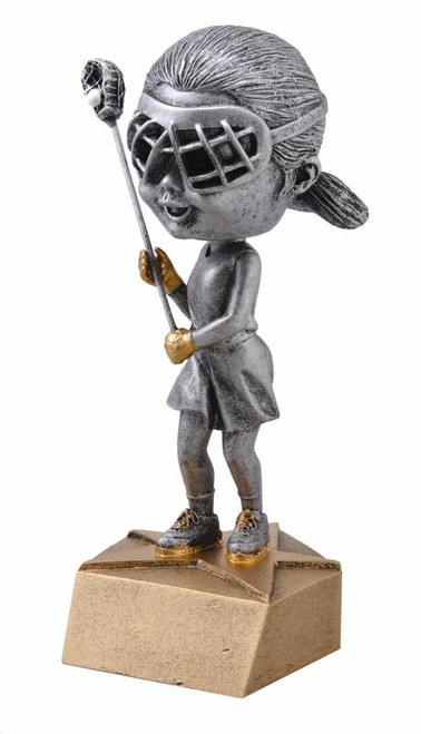 "Lacrosse Bobble Head Female Resin 6"" Tall"