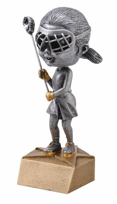 "Lacrosse Bobble Head Female Resin 6"" Tall"