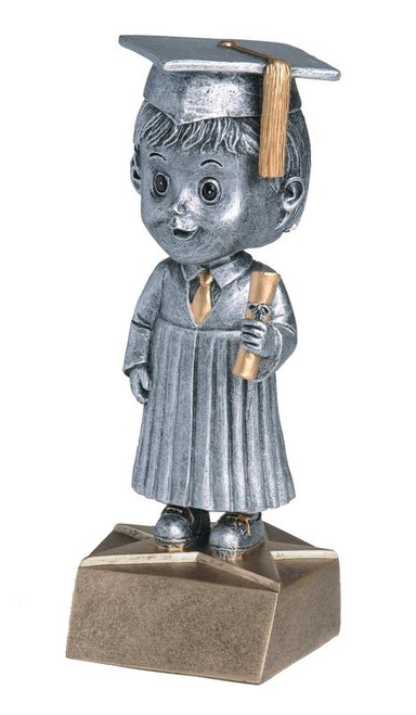 "Male Graduate Bobble Head Resin 6"" Tall"