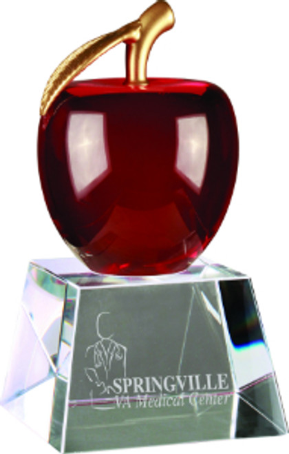 "Red Crystal Apple with Gold Leaf on Clear Base 6"" Tall"