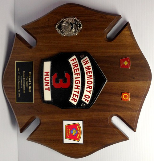 "Solid Walnut Maltese Cross Plaque for Fire Department 14"" x 14"""