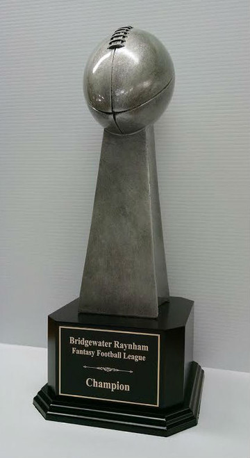 "Fantasy Football Championship Series Football Trophy on Black Wood Base 18"" Tall"