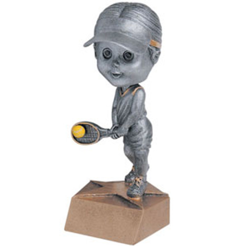 "Tennis Female Bobble Head Resin 6"" Tall"