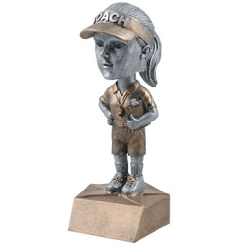 "Coach Female Bobble Head Resin 6"" Tall"