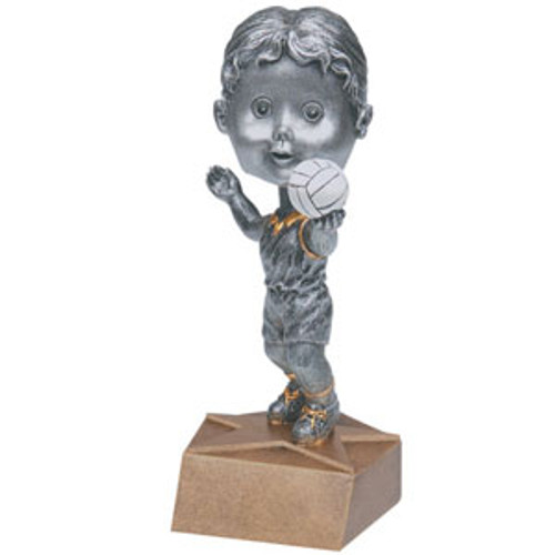 "Volleyball Female Bobble Head Resin 6"" Tall"