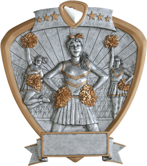 "Cheerleader Standing Shield Resin 8.5"" Tall"