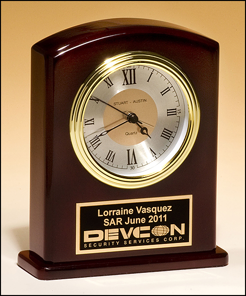 High Gloss Rosewood Finish with Diamond-Spun Dial Clock
