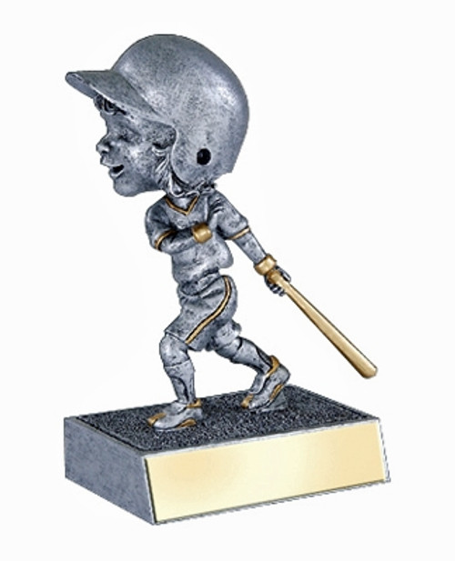 "Softball Female Bat Down Bobble Head Resin 5.5"" Tall"