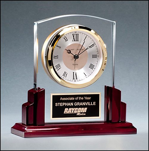 Glass Clock with Rosewood High Gloss Base
