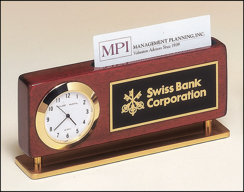 Copy of Business Card Holder with Clock in Rosewood Piano Finish with Gold Accents