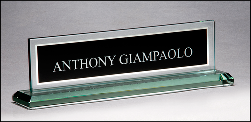 Glass Nameplate with Black Silk Screened Engraving Area and Mirror Border
