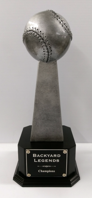 "Fantasy Baseball Championship Series Baseball Trophy on Black Wood Base 18.25"" Tall"
