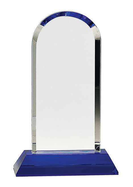 """Clear Crystal Dome on Blue Pedestal Base 9.25"""" Tall"""