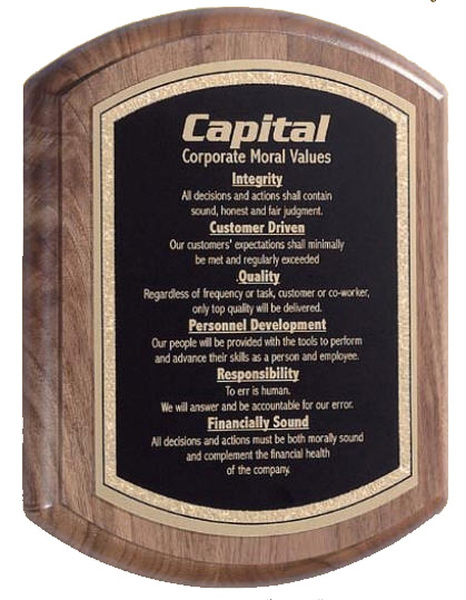Victory Walnut Barrel Award Plaque - Multiple Size Options