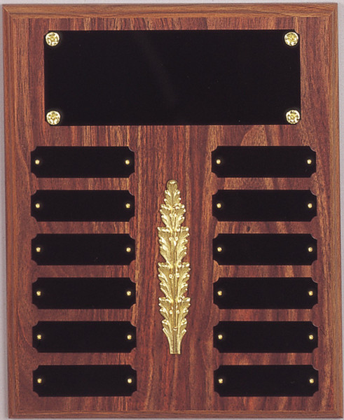 """10.5"""" x 13"""" (12 Plate) Walnut Finish Perpetual Plaque with Middle Decoration"""