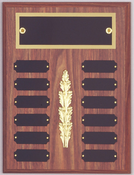 "9"" x 12"" (12 Plate) Walnut Finish Perpetual Plaque with Top Plate Border & Middle Decoration"