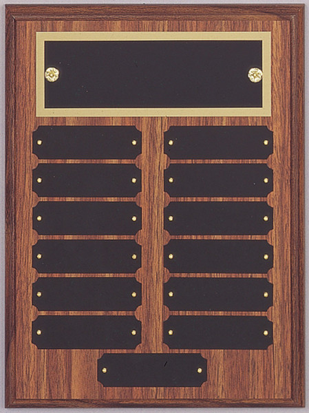 """9"""" x 12"""" (13 Plate) Walnut Finish Perpetual Plaque with Top Plate Border"""