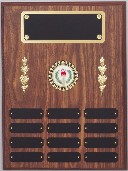 "12"" x 16"" (12 Plate) Walnut Finish Perpetual Plaque with Mylar Holder and Decorations"