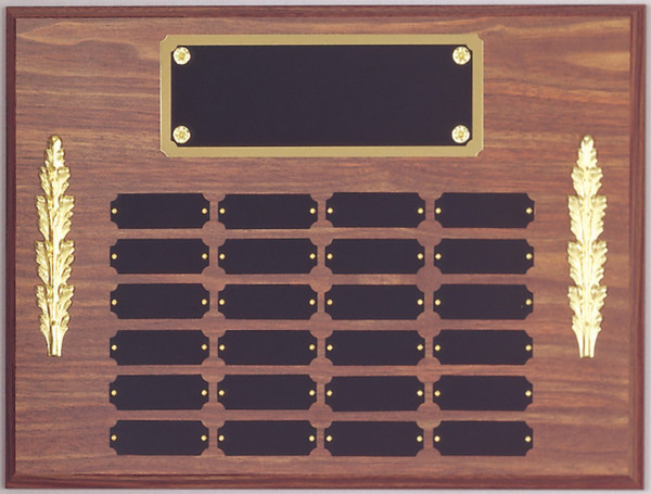 "12"" x 16"" (24 Plate) Walnut Finish Perpetual Plaque with Plate Border & Decorations"