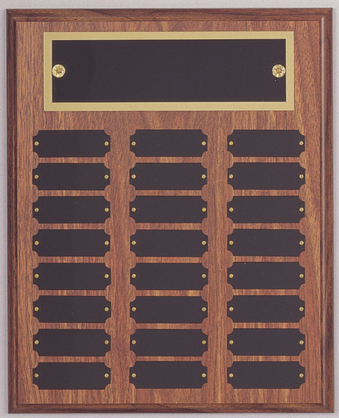 "10.5"" x 13"" (24 Plate) Walnut Finish Perpetual Plaque with Plate Border"