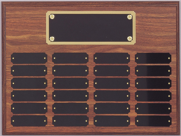 "12"" x 16"" (24 Plate) Walnut Finish Perpetual Plaque with Plate Border"