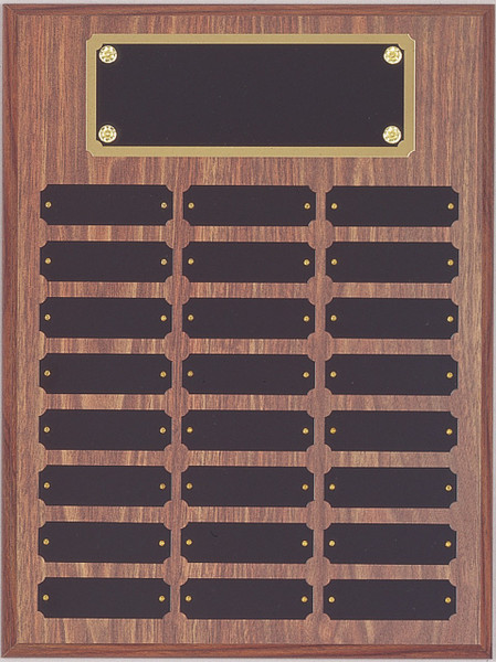 "12"" x 16"" (24 Plate) Walnut Finish Vertical Perpetual Plaque with Plate Border"