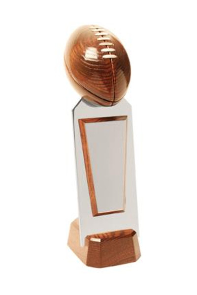 "Titlecraft USA Solid Oak Football on High Polished Aluminum Riser 15"" Tall"