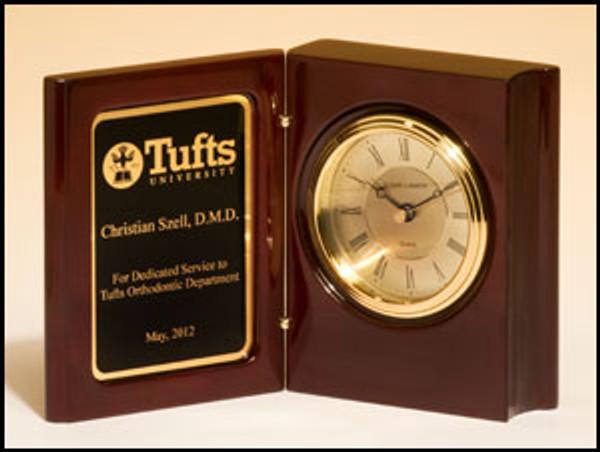 Mahogany Finish Book clock with Gold-Spun Dial