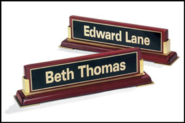 Rosewood Piano-Finish Nameplate with Gold Metal Accents