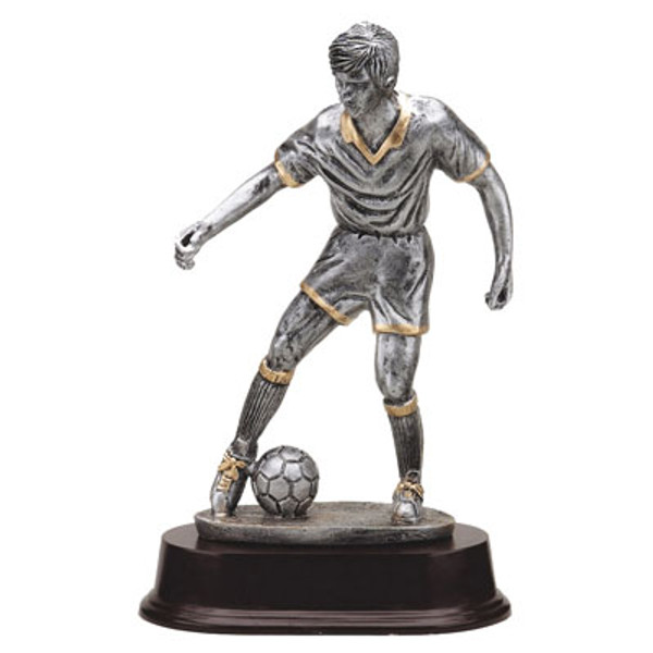 "Soccer Pushing Ball Resin Male 9"" Tall"