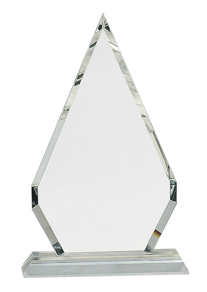 "Crystal Diamond Mounted on a Crystal Pedestal with Sandblasted Engraving 10.75"" Tall"