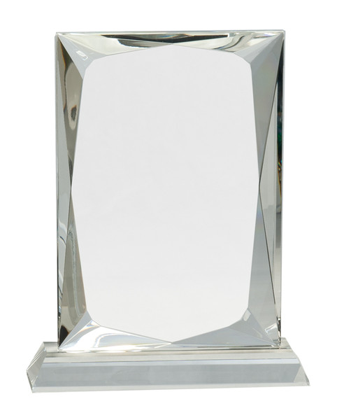 """Crystal Rectangle Mounted on a Crystal Pedestal with Sandblasted Engraving 8"""" Tall"""