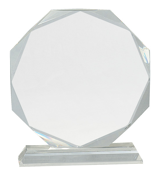 """Crystal Octagon Mounted on a Crystal Pedestal with Sandblasted Engraving 8"""" Tall"""
